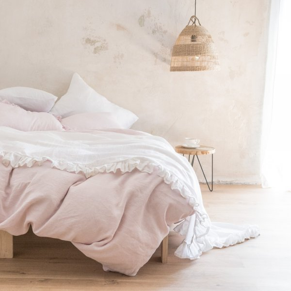 White linen frilled bed cover