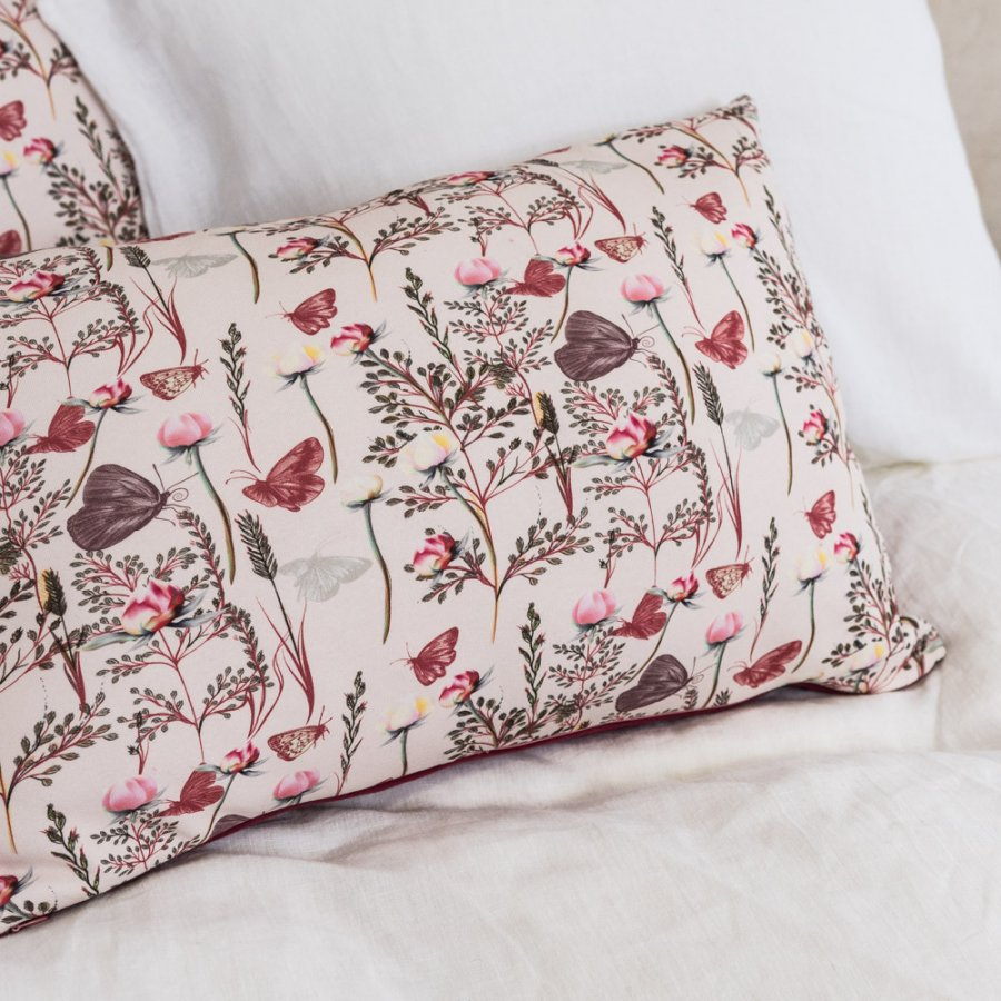 Cotton burgundy pillow with flowers and butterflies