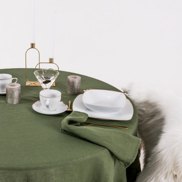Round linen tablecloth in olive green