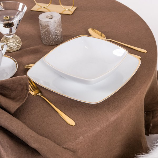 Round linen tablecloth in brown