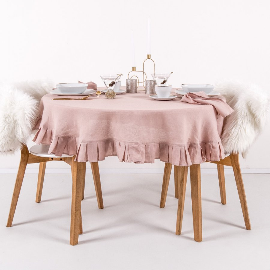 Round linen tablecloth in pastel pink