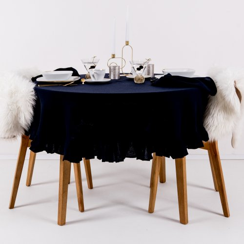 Round linen tablecloth in navy blue