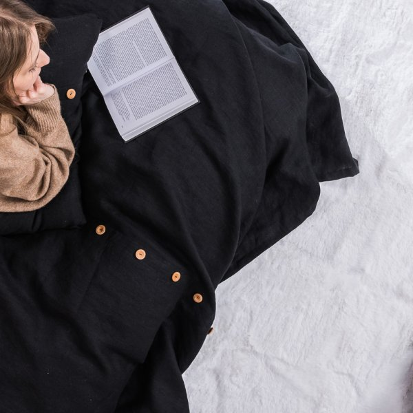 Black linen bedspread with buttons
