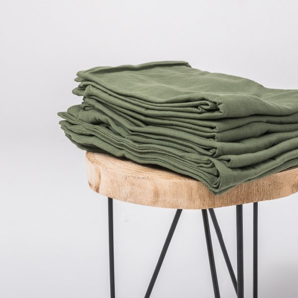 Olive green knitted cotton pillowcase