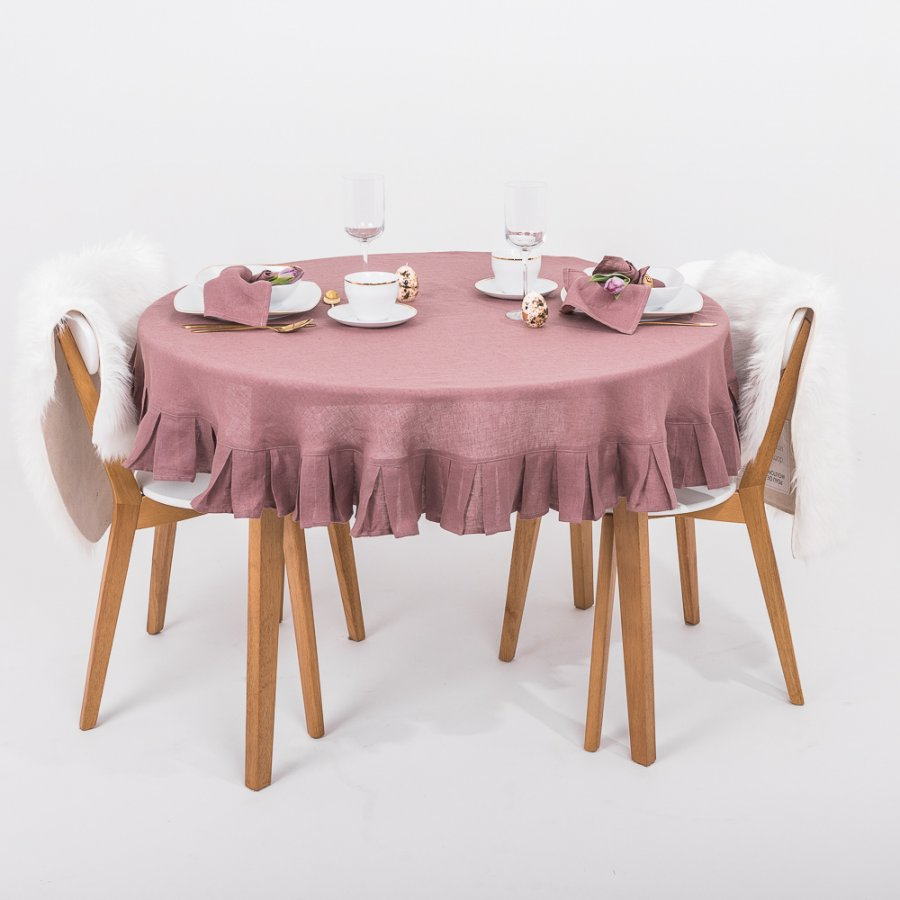Round linen tablecloth in antique rose