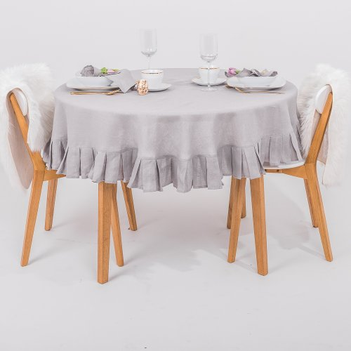 Round linen tablecloth in natural gray