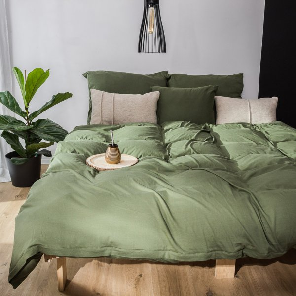 Olive green knitted cotton bedding