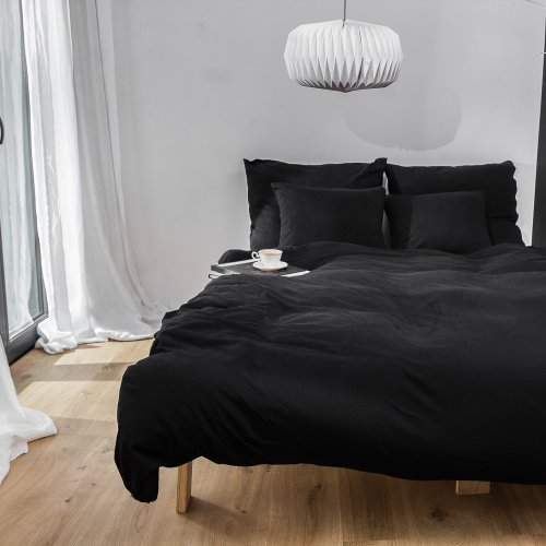 Black knitted cotton bedding