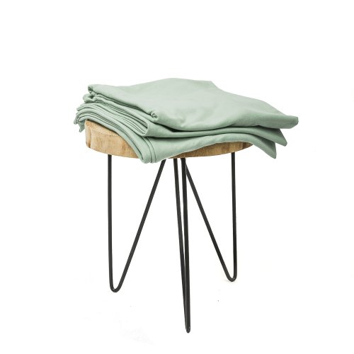 Sage green knitted cotton pillowcase