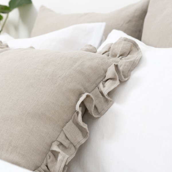 Soft white linen bedding